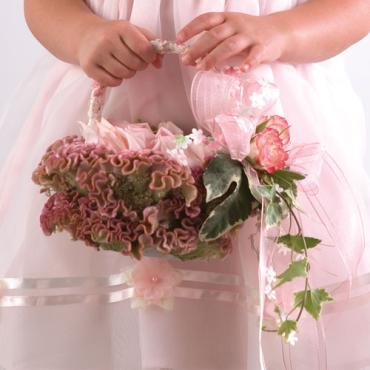 Flower Girl Basket with Rose Petals