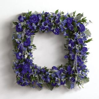 Glittered Blue-Dyed Rose Square Wreath